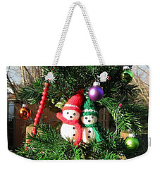 Weekender Tote Bag featuring the digital art Christmas Greeters by Ann Johndro-Collins