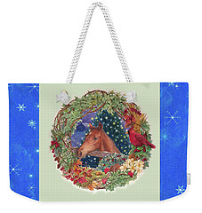 Weekender Tote Bag featuring the painting Christmas Horse And Holiday Wreath by Judith Cheng