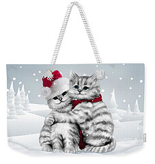 Weekender Tote Bag featuring the drawing Christmas Hug by Cindy Anderson