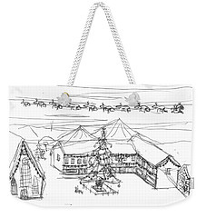 Weekender Tote Bag featuring the painting Christmas In The Centre by Artists With Autism Inc