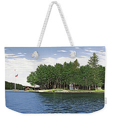 Weekender Tote Bag featuring the painting Christmas Island Muskoka by Kenneth M Kirsch