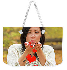 Weekender Tote Bag featuring the photograph Christmas Kisses.. by Nina Stavlund