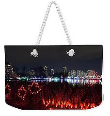 Christmas Lights At Lafarge Lake In City Of Coquitlam Weekender Tote Bag