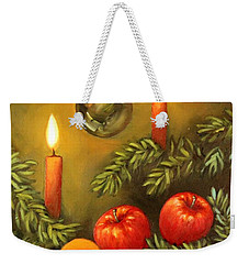 Weekender Tote Bag featuring the painting Christmas Lights by Inese Poga