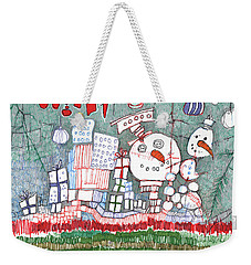 Christmas On The Edge Weekender Tote Bag by Sandra Church
