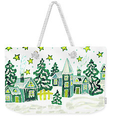 Christmas Picture In Green Weekender Tote Bag