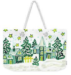 Christmas Picture In Green Weekender Tote Bag by Irina Afonskaya