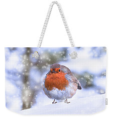 Weekender Tote Bag featuring the photograph Christmas Robin by Scott Carruthers