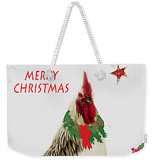 Weekender Tote Bag featuring the photograph Christmas Rooster Tee-shirt by Donna Brown