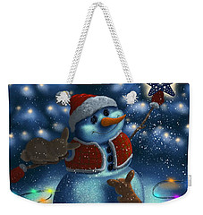 Weekender Tote Bag featuring the painting Christmas Season by Veronica Minozzi