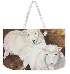 Weekender Tote Bag featuring the painting Christmas Sheep by Lucia Grilletto