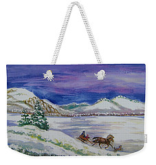 Weekender Tote Bag featuring the painting Christmas Sleigh by Dawn Senior-Trask