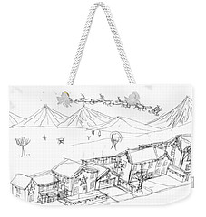 Weekender Tote Bag featuring the painting Christmas Street by Artists With Autism Inc