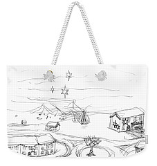 Weekender Tote Bag featuring the drawing Christmas Village by Artists With Autism Inc