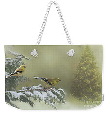 Christmas With The Goldfinches Weekender Tote Bag by Janette Boyd
