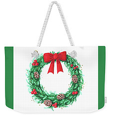 Christmas Wreath Weekender Tote Bag