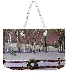 Christmas Wreath On Fence  Weekender Tote Bag