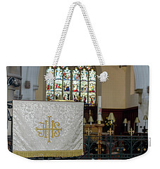 Weekender Tote Bag featuring the photograph Christogram Ihs On Pulpit Cloth In Gothic English Church by Jacek Wojnarowski