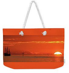 Christopher Columbus Sailing Ship Nina Sails Off Into The Sunset Panoramic Weekender Tote Bag