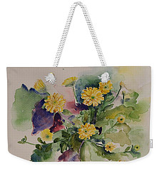 Chrysanthemum Flowers Still Life In Watercolor Weekender Tote Bag