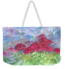 Weekender Tote Bag featuring the painting Chrysanthemums by Cathie Richardson