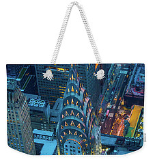 Chrysler Building Weekender Tote Bag by Inge Johnsson
