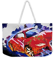 Weekender Tote Bag featuring the painting Chubby Car Red by Catherine Lott