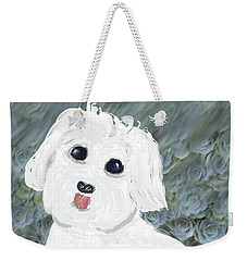 Weekender Tote Bag featuring the painting Chubby Puppy by Rosalie Scanlon