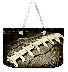 Chuck Noll - Pittsburgh Steelers Quote Weekender Tote Bag by David Patterson