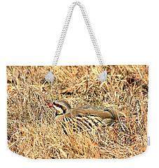 Weekender Tote Bag featuring the photograph Chuckar Bird Hiding In Grass by Sheila Brown