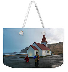Weekender Tote Bag featuring the photograph Church Above Reynisfjara Black Sand Beach, Iceland by Dubi Roman