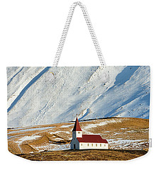 Weekender Tote Bag featuring the photograph Church And Mountains In Winter Vik Iceland by Matthias Hauser