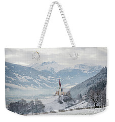 Church In Alpine Zillertal Valley In Winter Weekender Tote Bag