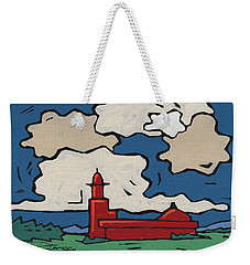 Weekender Tote Bag featuring the painting Church In The Clouds by SpiritPainter
