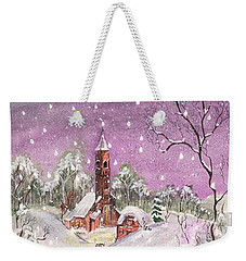 Weekender Tote Bag featuring the digital art Church In The Snow by Darren Cannell