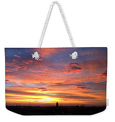 Church Steeple And City Sunrise Weekender Tote Bag by Kathy M Krause