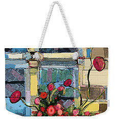 Weekender Tote Bag featuring the painting Church Window by Carrie Joy Byrnes