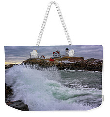 Weekender Tote Bag featuring the photograph Churning Seas At Cape Neddick by Rick Berk