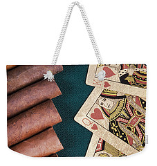 Weekender Tote Bag featuring the photograph Cigars And Playing Cards  by Andrey  Godyaykin