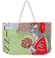 Cinci Reds Cat Weekender Tote Bag
