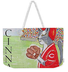 Weekender Tote Bag featuring the painting Cinci Reds Cat by Diane Pape