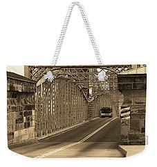Cincinnati - Roebling Bridge 1 Sepia Weekender Tote Bag by Frank Romeo