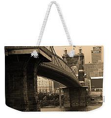 Cincinnati - Roebling Bridge 2 Sepia Weekender Tote Bag by Frank Romeo