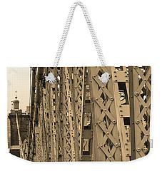 Cincinnati - Roebling Bridge 3 Sepia Weekender Tote Bag by Frank Romeo