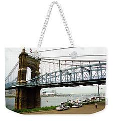 Cincinnati - Roebling Bridge 5 Weekender Tote Bag by Frank Romeo