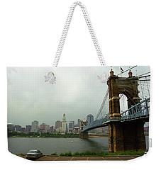 Cincinnati - Roebling Bridge 6 Weekender Tote Bag by Frank Romeo