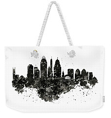Weekender Tote Bag featuring the mixed media Cincinnati Skyline Black And White by Marian Voicu