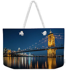 Cincinnati's Roebling Suspension Bridge At Dusk Weekender Tote Bag