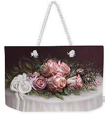 Weekender Tote Bag featuring the painting Spray Of  Roses by Bonnie Willis