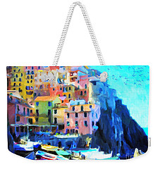 Weekender Tote Bag featuring the painting Cinque Terre by Chris Armytage